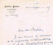 Carta de J.B.Wagrou do Inst.Pasteur de Paris dirigida ao Dr.Carlos França