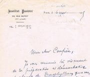 Carta de Marchoux do Inst.Pasteur de Paris dirigida ao Dr.Carlos França